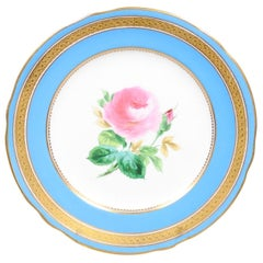 English Turquoise and Gilt 19th Century Pink Rose Painted Faience Dessert Plate