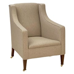 English Upholstered Armchair on Tapered Legs from the Edwardian Era