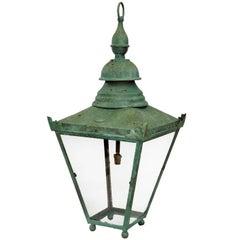English Verdigris Bronze Hanging Lantern, circa 1860
