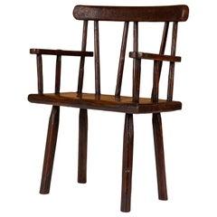 English Vernacular Brown-Painted Armchair