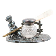 English Victorian 19th Century Inkwell with Silver Putto and Cut Glass Container