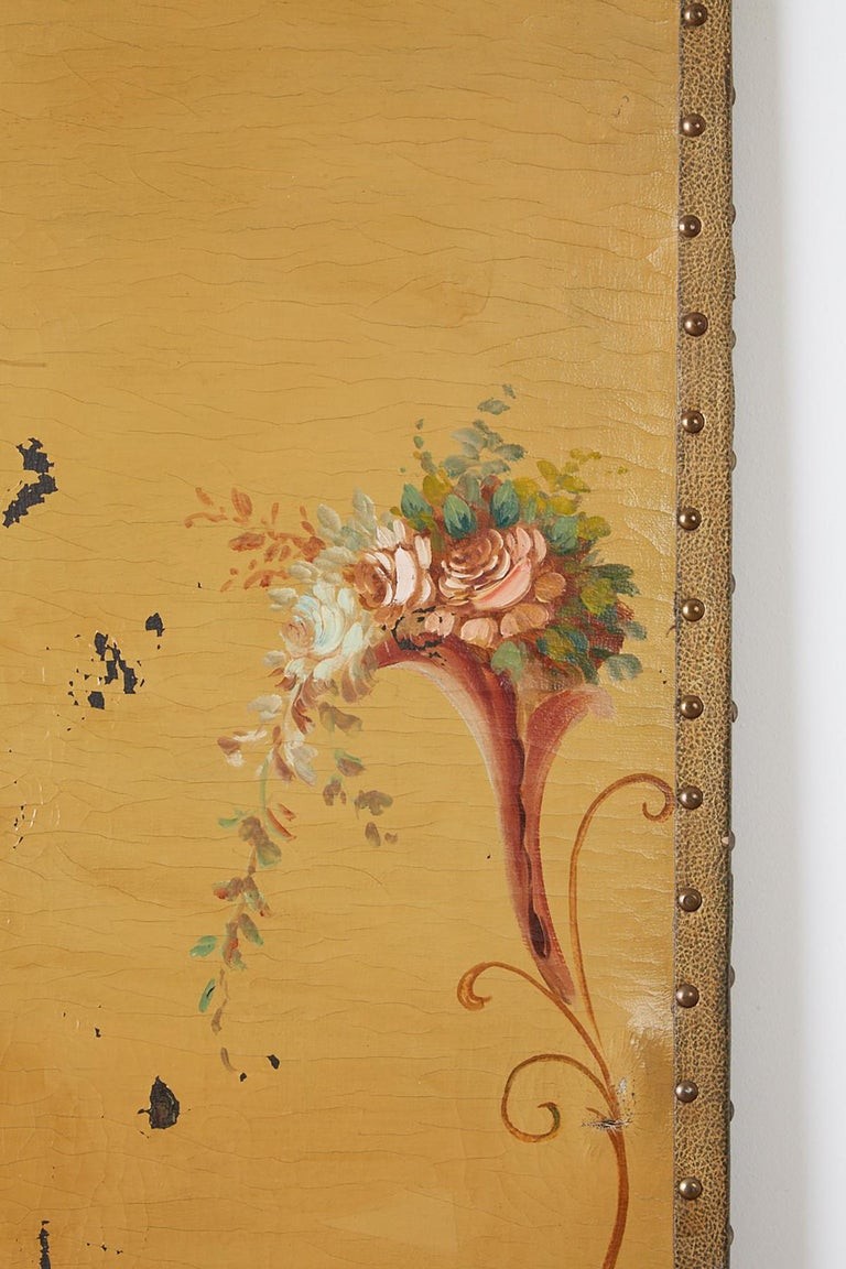 English Victorian Adam Style Painted Floor Screen For Sale 3