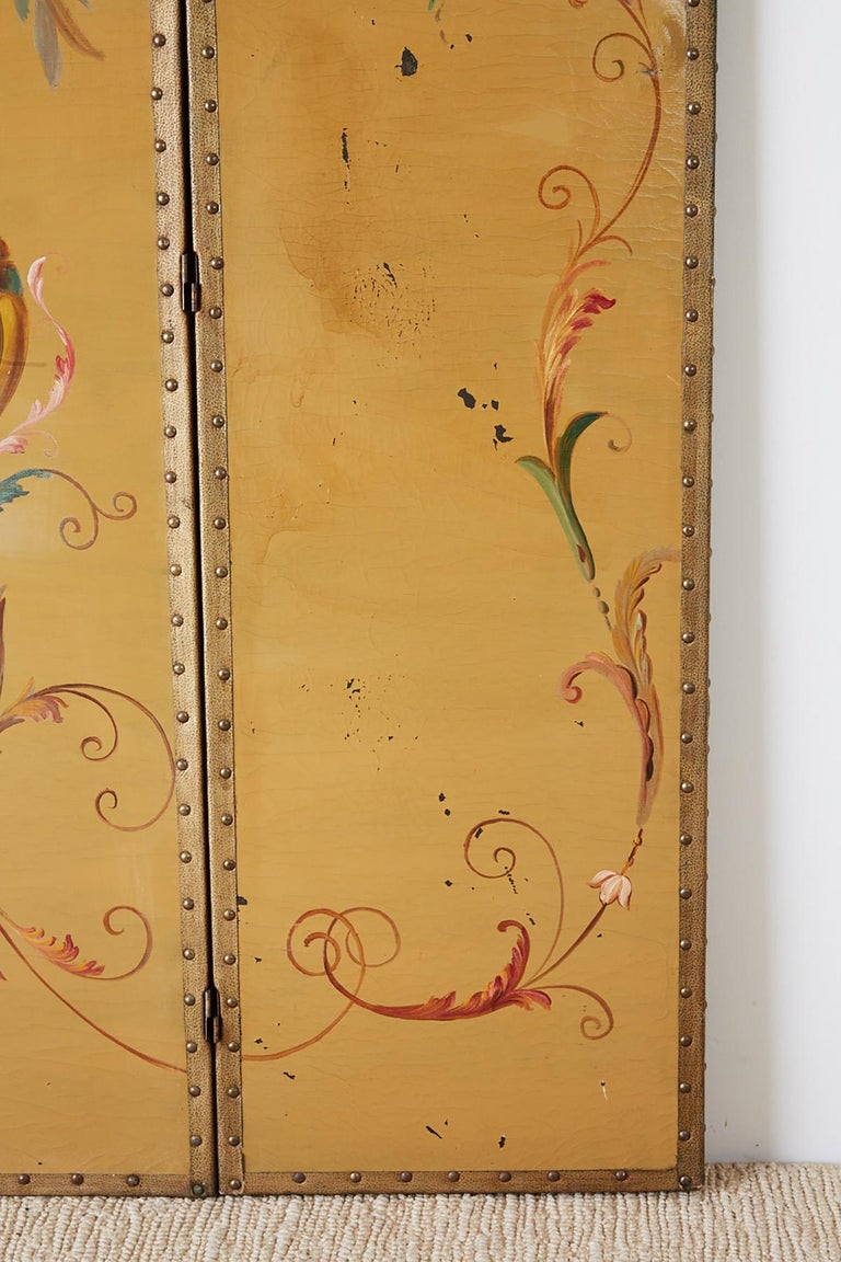 English Victorian Adam Style Painted Floor Screen For Sale 4
