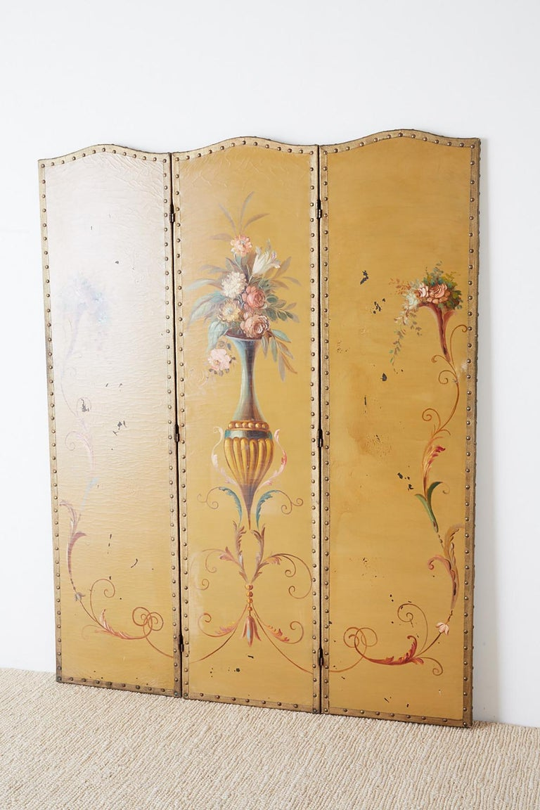 English Victorian Adam Style Painted Floor Screen For Sale 5