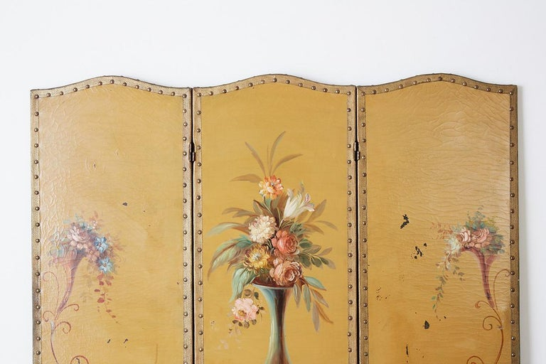 English Victorian Adam Style Painted Floor Screen For Sale 8