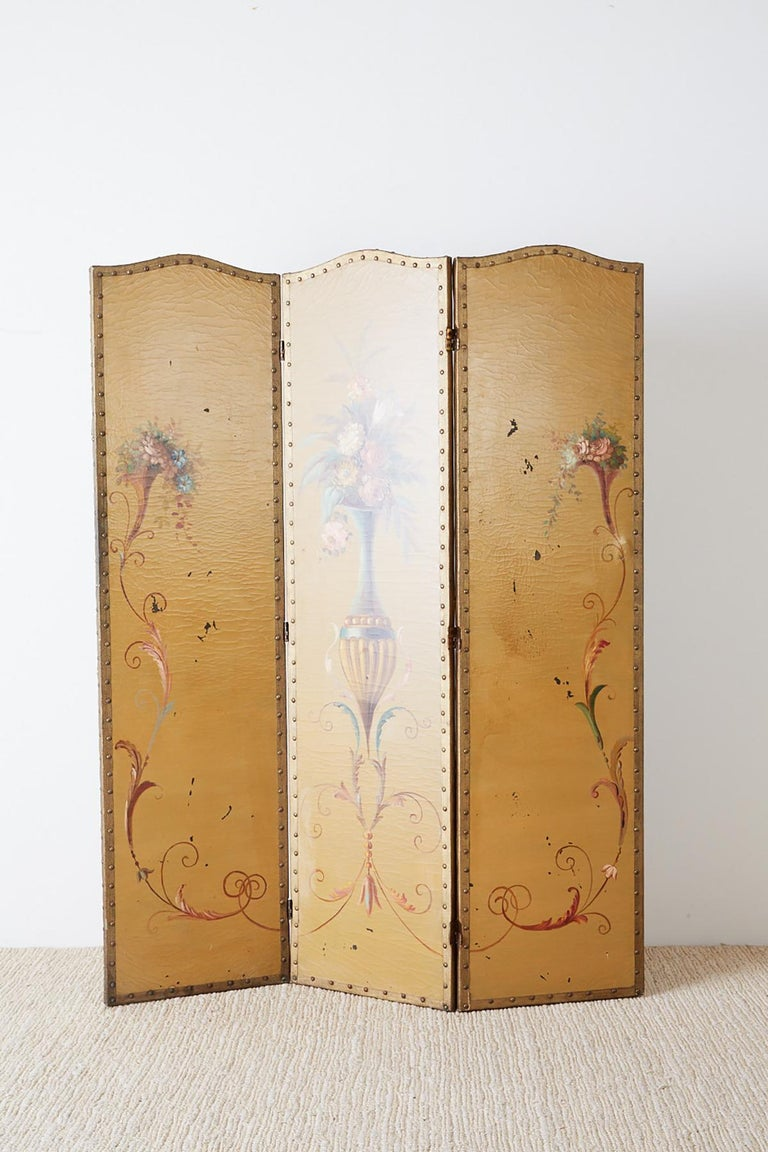 English Victorian Adam Style Painted Floor Screen For Sale 9