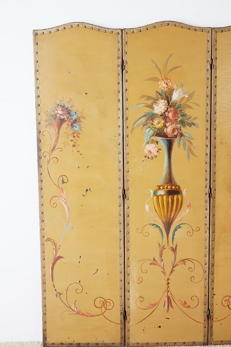 Neoclassical English Victorian Adam Style Painted Floor Screen For Sale