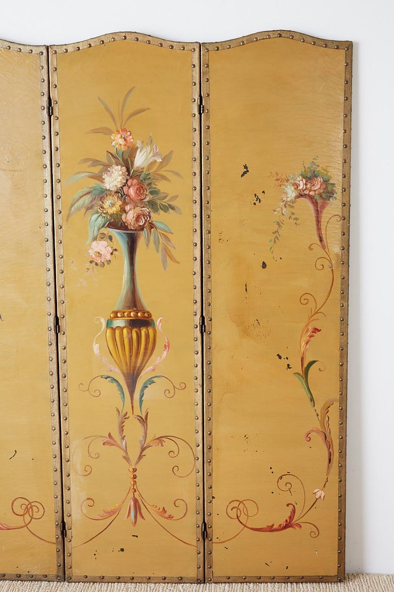 Hand-Painted English Victorian Adam Style Painted Floor Screen For Sale