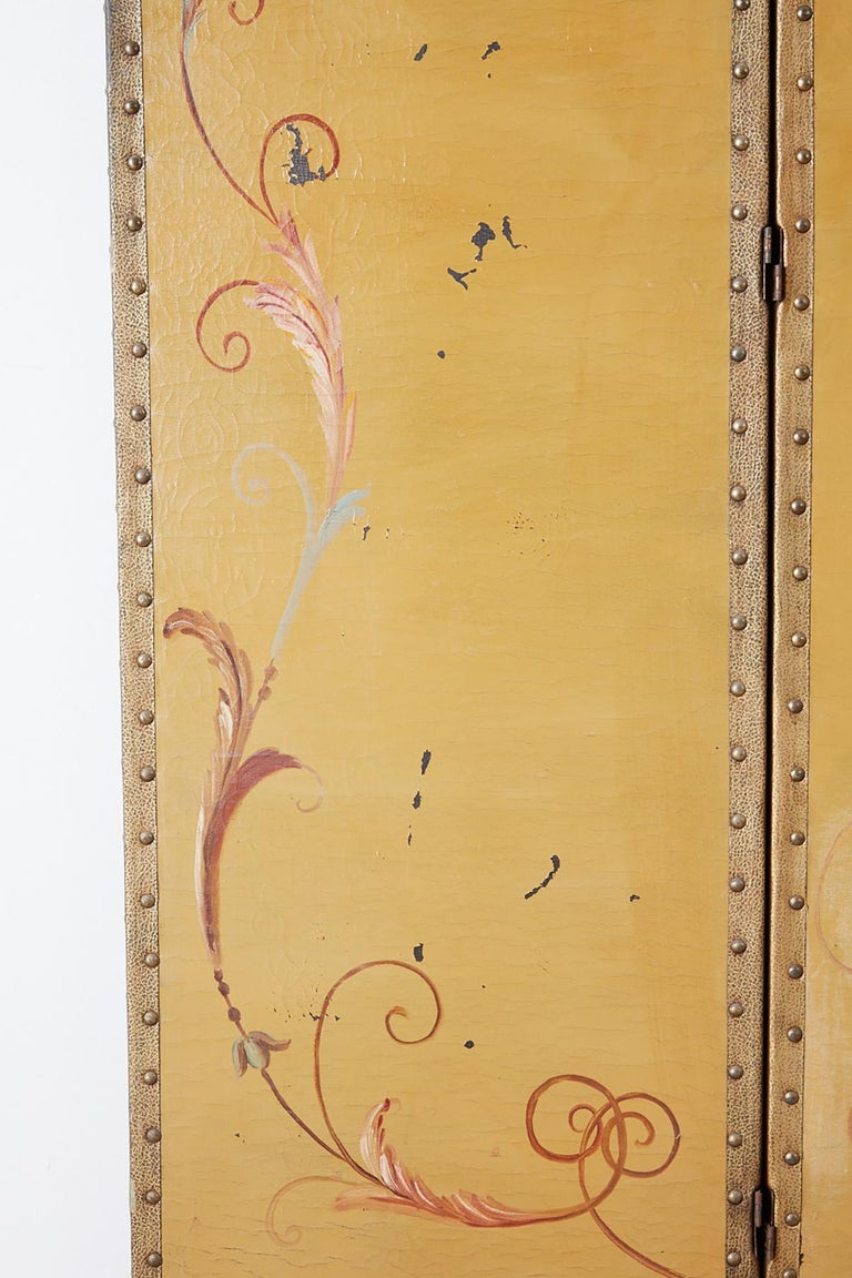 19th Century English Victorian Adam Style Painted Floor Screen For Sale