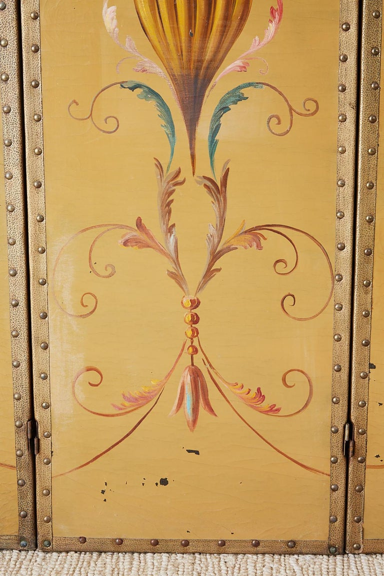 Brass English Victorian Adam Style Painted Floor Screen For Sale