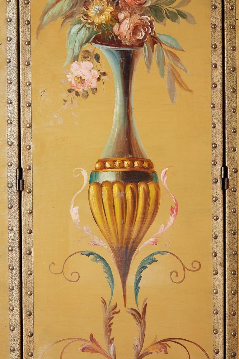English Victorian Adam Style Painted Floor Screen For Sale 1
