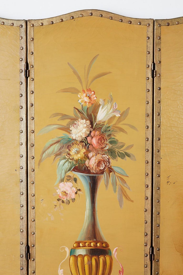 English Victorian Adam Style Painted Floor Screen For Sale 2