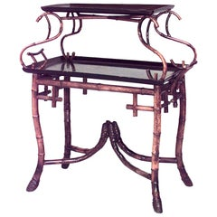 English Victorian Bamboo and Lacquer Two-Shelf Tier Table