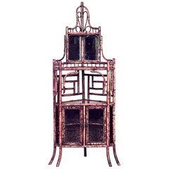 English Victorian Bamboo Corner Cabinet