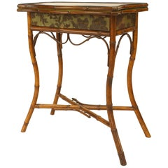 English Victorian Bamboo Flip-Top Console Table