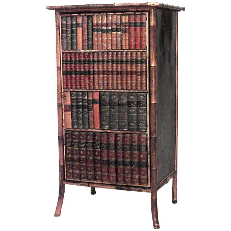 English Victorian Bamboo Small Bookcase Cabinet For Sale