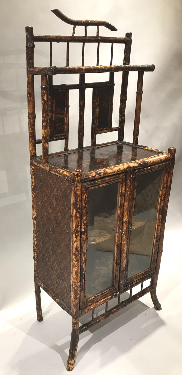 English Victorian Bamboo Two Door Cabinet or Étagère In Good Condition For Sale In Milford, NH