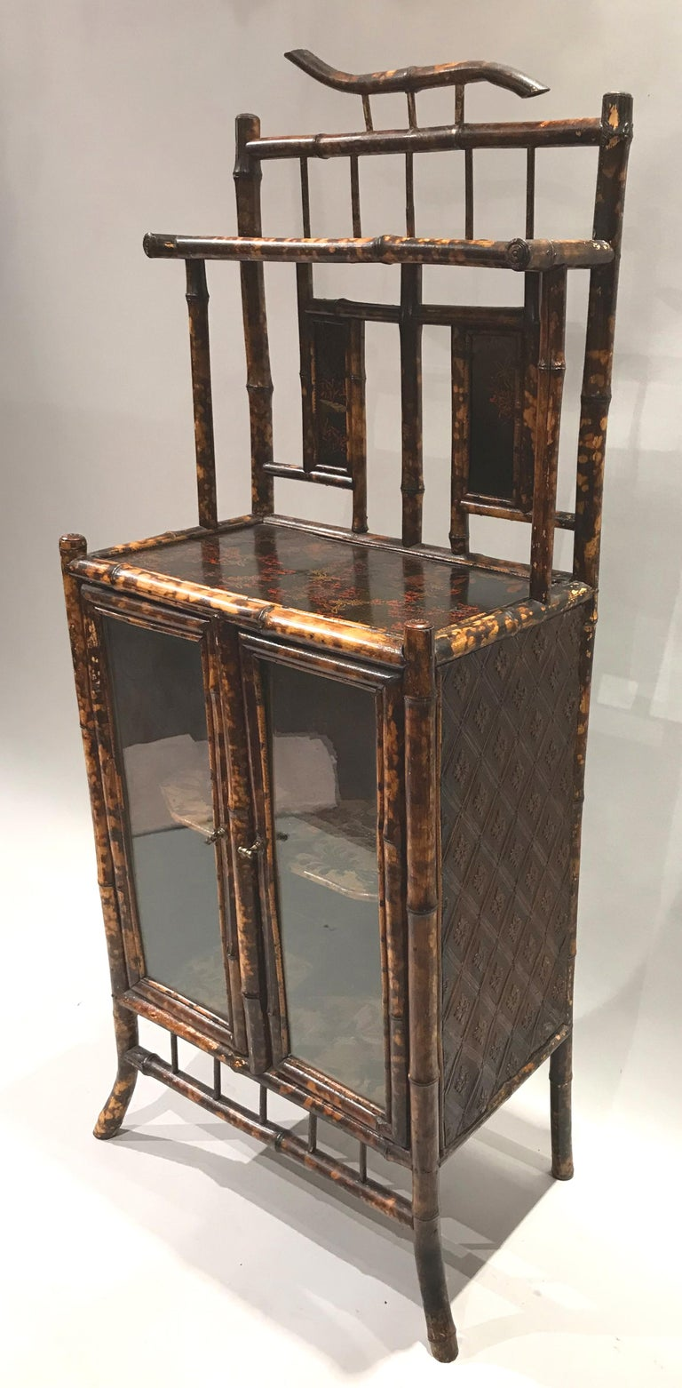 19th Century English Victorian Bamboo Two Door Cabinet or Étagère For Sale