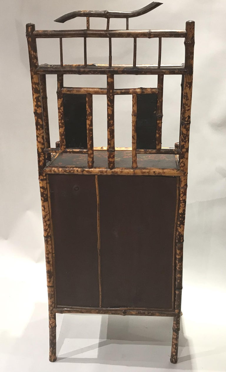 English Victorian Bamboo Two Door Cabinet or Étagère For Sale 4