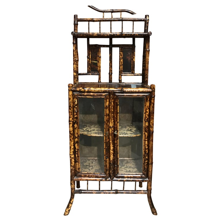 English Victorian Bamboo Two Door Cabinet or Étagère For Sale