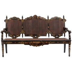 English Victorian Black Lacquered Floral Settee