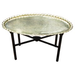 English Victorian Brass Oval Engraved Tray on Custom Made Stand
