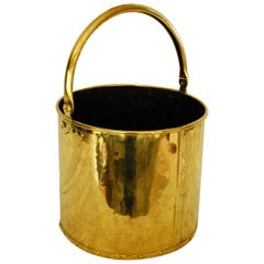 English Victorian Brass Riveted Coal Bucket with Brass Swing Handle