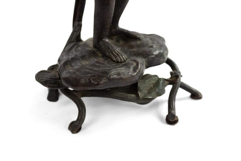 English Victorian Bronze Monkey Table Lamp For Sale 3