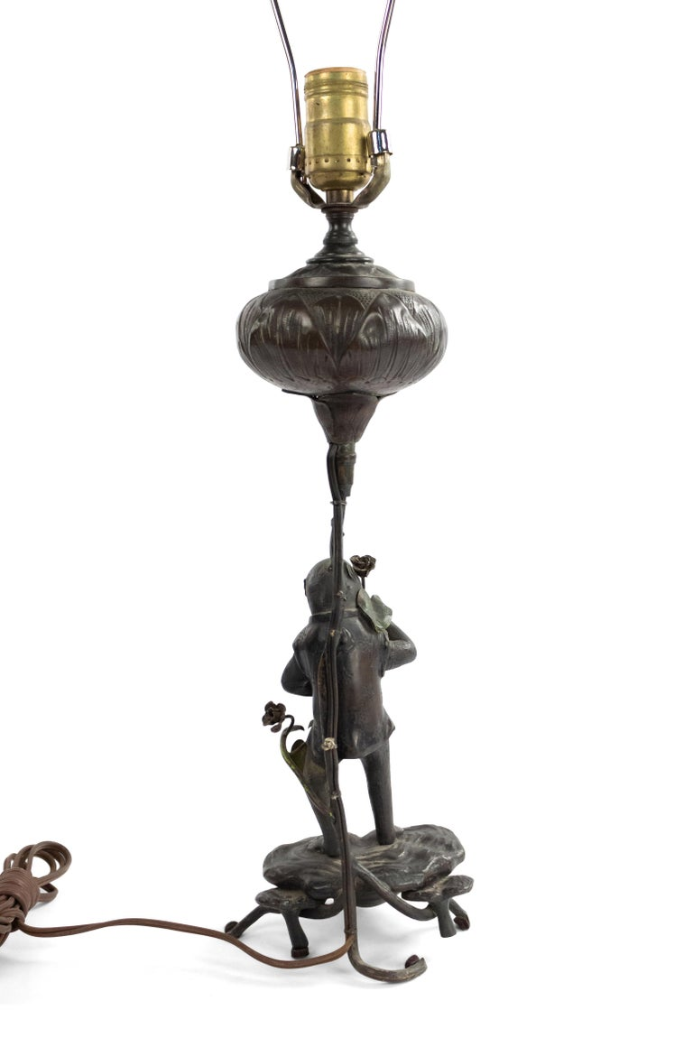 English Victorian Bronze Monkey Table Lamp For Sale 4