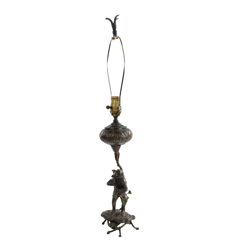 English Victorian Bronze Monkey Table Lamp