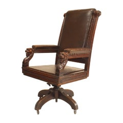 English Victorian Brown Leather Swivel Chair