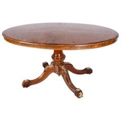 English Victorian Burr Walnut Loo table, circa 1880