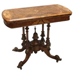 English Victorian Burr Walnut Occasional Side Table