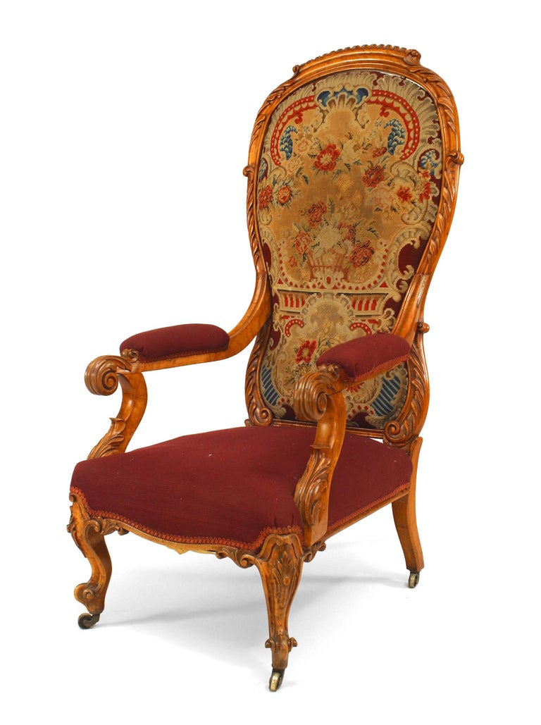 English Victorian Carved High Back Arm Chair For