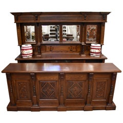 English Victorian Carved Oak Front and Back Bar