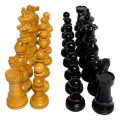 English Victorian Carved Satinwood and Ebonized Chess Pieces