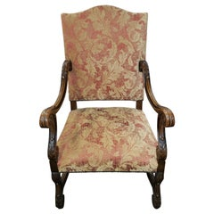 English Victorian Carved Walnut Armchair