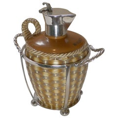 """English Victorian Ceramic """"Whisky"""" Carafe In Caddy, c.1888"""