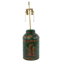 English Victorian Chinoiserie Tea Canister Table Lamp