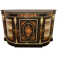 English Victorian Ebonized and Floral Marquetry Display Cabinet