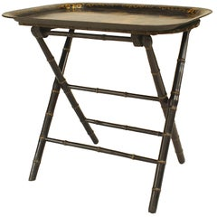 English Victorian Ebonized and Gilt Faux Bamboo Design Table