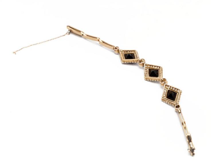 Women's English Victorian Era Lozenge Onyx and Diamond Bracelet in 18k Gold, circa 1880 For Sale