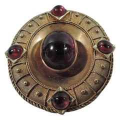 English Victorian Etruscan Revival 18 Karat Gold and Garnet Brooch