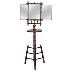 English Victorian Faux Bamboo Shaving Stand with Triptych Mirror