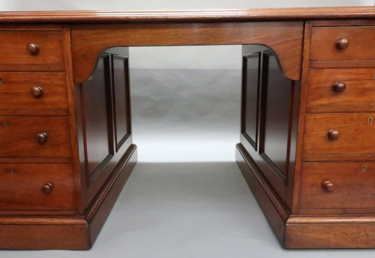 English Victorian Figured Mahogany Partners Pedestal Kneehole Writing Desk 2