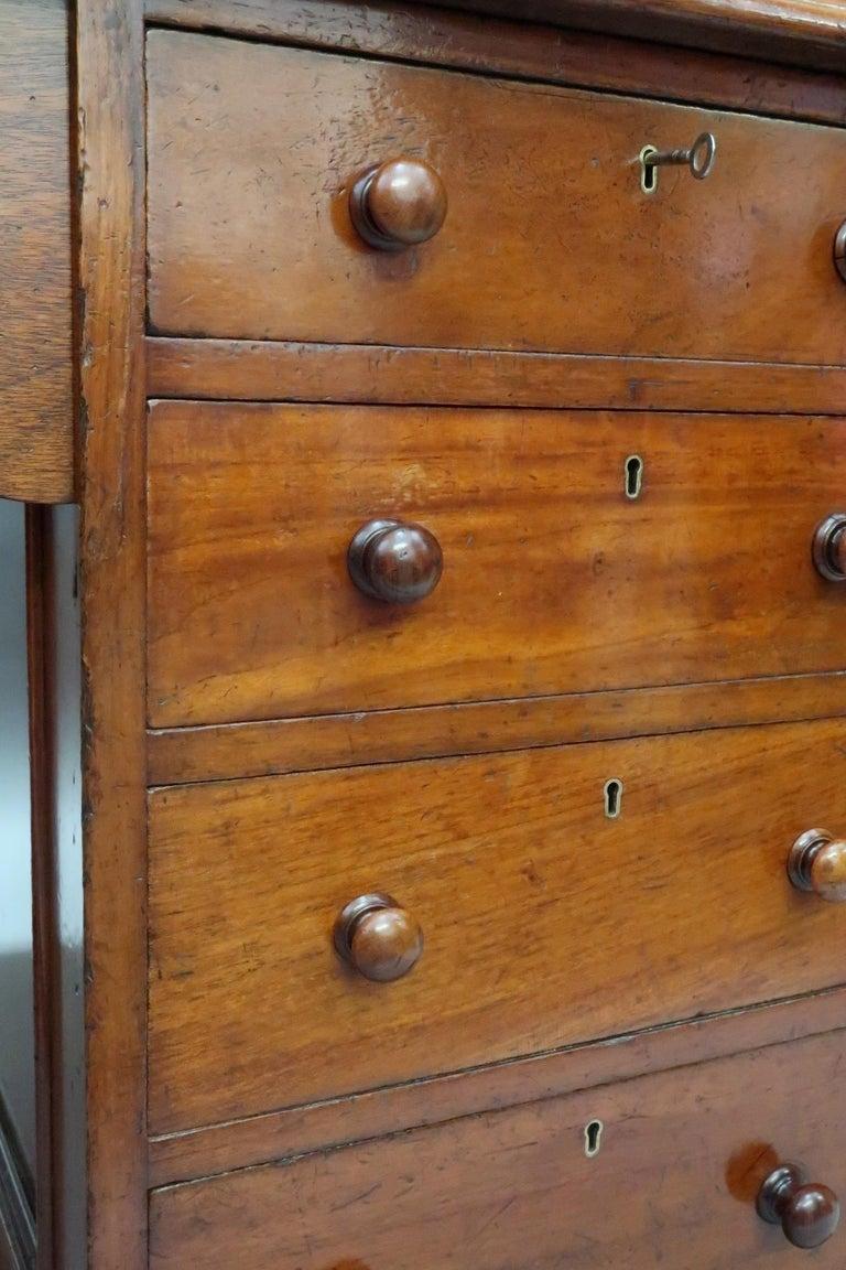 English Victorian Figured Mahogany Partners Pedestal Kneehole Writing Desk 3