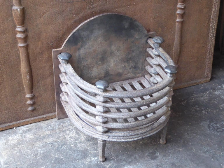 Cast English Victorian Fireplace Grate, Fire Basket For Sale