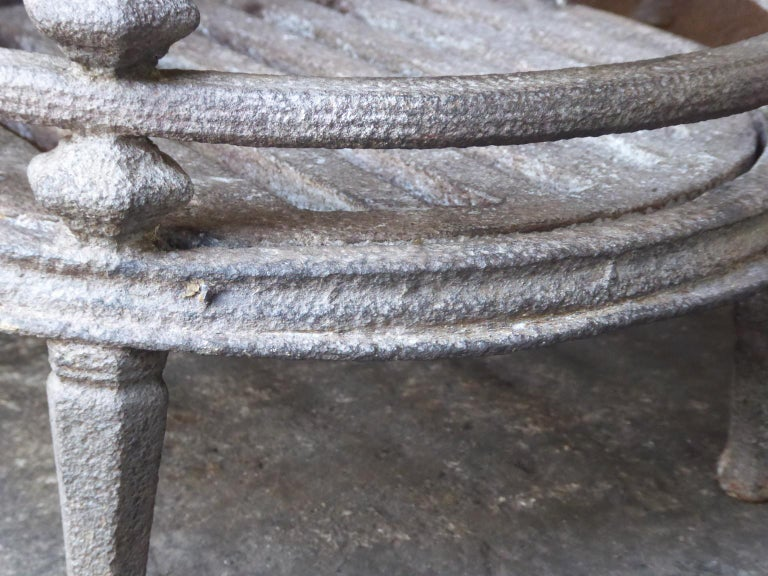 Iron English Victorian Fireplace Grate, Fire Basket For Sale