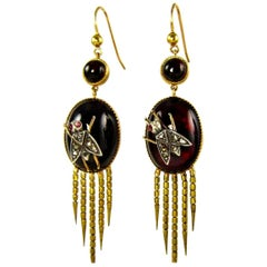 English Victorian Fringed Earrings with Garnet and Diamonds