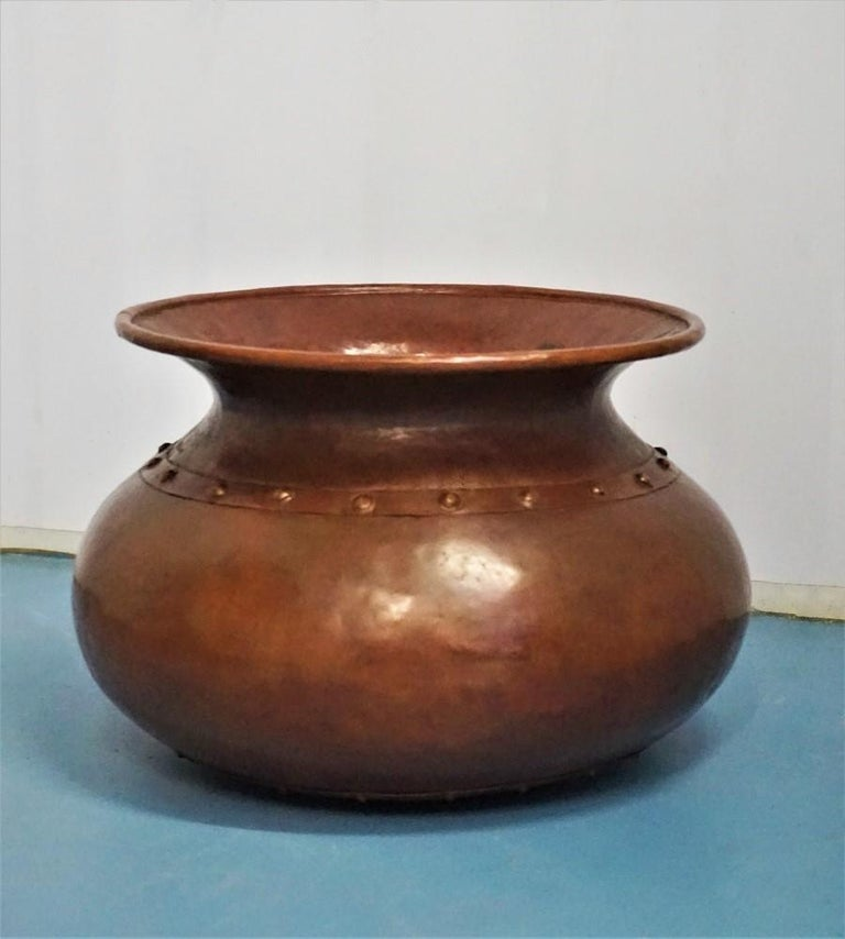 Hand-Crafted English Victorian Handcrafted Copper Pot or Vase with Rivets For Sale